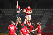 Canada player Tyler Ardron wins a line out in the first half during the Rugby World Cup qualifier between Hong Kong and Canada at Stade Delort, Marseilles, France on 23 November 2018. Picture by Ian  Muir.