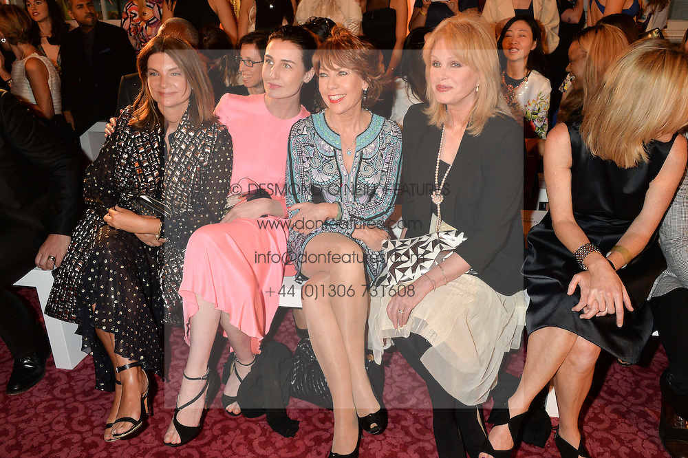 Left to right, NATALIE MASSENET, ERIN O'CONNOR, KATHY LETTE and JOANNA LUMLEY at the LDNY Fashion Show and WIE Award Gala sponsored by Maserati held at The Goldsmith's Hall, Foster Lane, City of London on 27th April 2015.