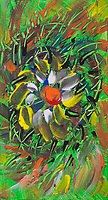 savage flower meadow abstraction: irregular shapes lines bright colors with shades
