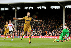 Goal, Harry Kane of Tottenham Hotspur scores his hattrick, Fulham 0-3 Tottenham Hotspur - Mandatory by-line: Jason Brown/JMP - 19/02/2017 - FOOTBALL - Craven Cottage - Fulham, England - Fulham v Tottenham Hotspur - Emirates FA Cup fifth round