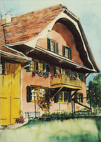 Watercolor of a beautiful traditional farmhouse in Egg, Switzerland.