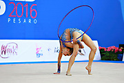 Kiss Alexandra of Hungary competes during the rhythmic gymnastics individual hoop qualification of the World Cup at Adriatic Arena on April 1, 2016 in Pesaro, Italy.<br /> Alexandra was born in Budapest Hungary in 2000.
