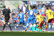 Burnley striker Andre Gray (7) scores to make it 1-1 during the Sky Bet Championship match between Brighton and Hove Albion and Burnley at the American Express Community Stadium, Brighton and Hove, England on 2 April 2016.