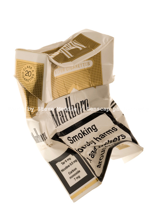 Crushed Packet of Marlboro Lights Cigarettes