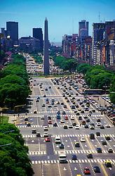Buenos Aires, Argentina. 11/1995..Obelisco. Avenida Nove de Julho vista de cima./ 9th of july avenue aerial view. Obelisc..Foto © Adri Felden/Argosfoto