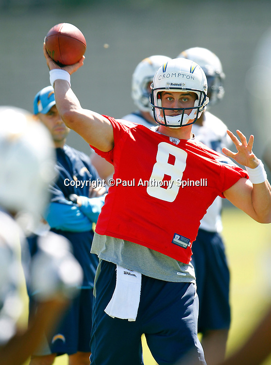 San Diego Chargers rookie quarterback Jonathan Crompton (8) throws a pass during a Chargers rookie minicamp on May 7, 2010 in San Diego, California. (©Paul Anthony Spinelli)