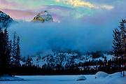 Winter sunset, Taggart Lake, Grand Teton National Park. 30 degrees below zero. Grand Teton, background.