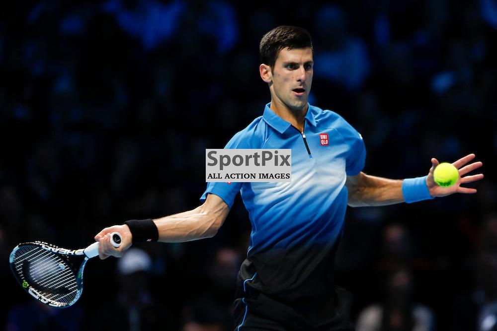 LONDON, ENGLAND - November 17: Novak Djokovic in action during a match between Novak Djokovic and Roger Federer at the ATP World Tour Finals 2015 at the O2 Arena, London.   on November 17, 2015 in London, England. (Credit: SAM TODD | SportPix.org.uk)