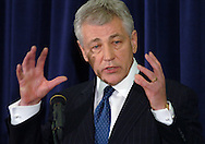 3/12/07 Omaha NE Nebraska Senator Chuck Hagel makes the announcement that he is waiting to decide about running for President at the University of Nebraska  at Omaha. (photo by Chris Machian/Prairie Pixel Group)