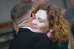 © Licensed to London News Pictures . 30/06/2017 . Stockport , UK . Coronation Street stars including ANTONY COTTON and JENNIE MCALPINE , hugging at the service . The funeral of Martyn Hett at Stockport Town Hall . Martyn Hett was 29 years old when he was one of 22 people killed on 22 May 2017 in a murderous terrorist bombing committed by Salman Abedi, after an Ariana Grande concert at the Manchester Arena . Photo credit : Joel Goodman/LNP