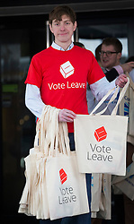 © Licensed to London News Pictures. 08/04/2016. London, UK. A Vote Leave European referendum campaigner offers  branded bags to delegates arriving for the Conservative Party Spring Forum in central London.  Photo credit: Peter Macdiarmid/LNP