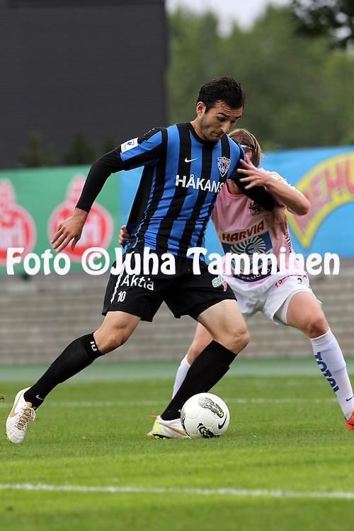 15.7.2012, Veritas stadion (Kupittaa), Turku..Veikkausliiga 2012..FC Inter Turku - JJK Jyv?skyl?..Irakli Sirbiladze (Inter) v Samu Nieminen (JJK)..