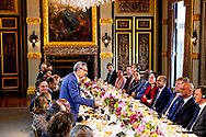 THE HAGUE - Prime Minister Mark Rutte and King Willem-Alexander  received the president of the Cape Verde Republic, Jorge Carlos de Almeida Fonseca at the Binnenhof for the government lunch. The Cape Verdean president is in the Netherlands for a two-day state visit. COPYRIGHT ROBIN UTRECHT