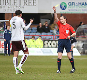 Refereee Willie Collum yellow cards Hearts&rsquo; Alim Ozturk - Dundee v Hearts - Ladbrokes Premiership at Dens Park <br />  - &copy; David Young - www.davidyoungphoto.co.uk - email: davidyoungphoto@gmail.com