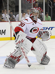 Oct 10; Newark, NJ, USA; Carolina Hurricanes goalie Cam Ward (30) during the second period at the Prudential Center.