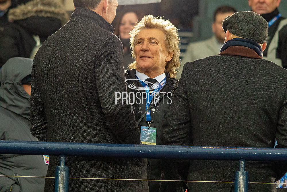 Special Guest and huge Celtic Fan, Rod Stewart talks to Chris Sutton ahead of the Betfred Scottish League Cup Final match between Rangers and Celtic at Hampden Park, Glasgow, United Kingdom on 8 December 2019.