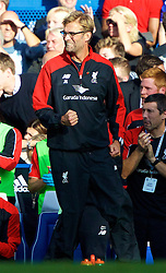 LONDON, ENGLAND - Saturday, October 31, 2015: Liverpool's manager Jurgen Klopp celebrates the equalising goal against Chelsea during the Premier League match at Stamford Bridge. (Pic by Lexie Lin/Propaganda)