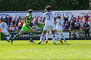 Forest Green Rovers Keanu Marsh-Brown(7)(partially hidden) shoots at goal scores a goal 2-0 during the Vanarama National League Play Off second leg match between Forest Green Rovers and Dagenham and Redbridge at the New Lawn, Forest Green, United Kingdom on 7 May 2017. Photo by Shane Healey.