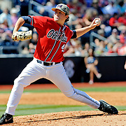 Mississippi pitcher Christian Trent (47) releases a pitch during an NCAA college baseball game against Arkansas in Oxford, Miss., Saturday, May 3, 2014. (Photo/Thomas Graning)