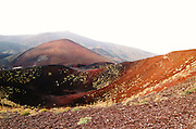 Silvestri Crater at an altitude of 1986 meter above sea level on the Southern slopes of Mount Etna, The highest and most active volcano in Europe, Nicolosi, Sicily, Italy July 2006