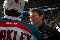 KELOWNA, CANADA - MARCH 4: Kelowna Rockets' athletic therapist Scott Hoyer tends to an injury on the bench against the Tri-City Americans on March 4, 2017 at Prospera Place in Kelowna, British Columbia, Canada.  (Photo by Marissa Baecker/Shoot the Breeze)  *** Local Caption ***