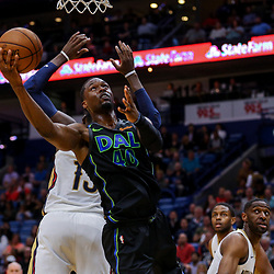 Mar 20, 2018; New Orleans, LA, USA; Dallas Mavericks forward Harrison Barnes (40) shoots over New Orleans Pelicans forward Cheick Diallo (13) during the first quarter at the Smoothie King Center. Mandatory Credit: Derick E. Hingle-USA TODAY Sports
