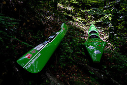 Kayaks at final sprint race of European wildwater Canoeing Championships Soca 2013 on May 12, 2013 in Trnovo ob Soci, Soca river, Slovenia. (Photo By Vid Ponikvar / Sportida)