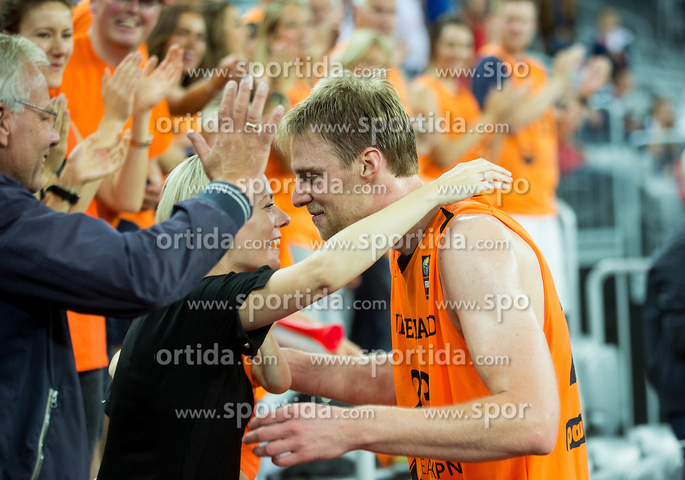 Henk Norel of Netherlands celebrates with his family after winning during basketball match between Georgia and Netherlands at Day 1 in Group C of FIBA Europe Eurobasket 2015, on September 5, 2015, in Arena Zagreb, Croatia. Photo by Vid Ponikvar / Sportida