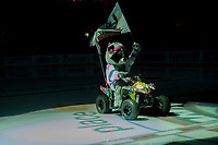 KELOWNA, CANADA - OCTOBER 21: The Kelowna Rockets' mascot Rocky Racoon enters the ice against the Portland Winterhawks on October 21, 2017 at Prospera Place in Kelowna, British Columbia, Canada.  (Photo by Marissa Baecker/Shoot the Breeze)  *** Local Caption ***