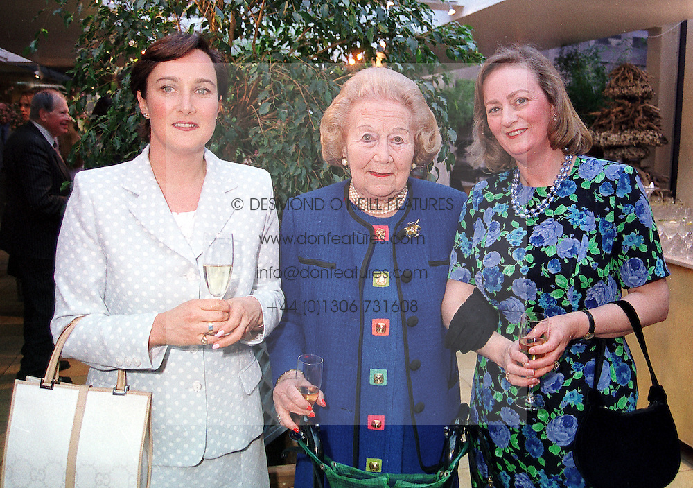 Left to right, the HON.MRS MOUNTAIN, MRS BETTY KENWARD and LADY CELESTRIA NOEL<br />  they are past and present Harpers & Queen Jennifer's Diary writers, at a party in London on 18th May 2000.OEI 35