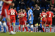 Ben Osborn scores for Nottingham Forest during the Sky Bet Championship match between Brighton and Hove Albion and Nottingham Forest at the American Express Community Stadium, Brighton and Hove, England on 7 February 2015.