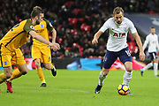Harry Kane of Tottenham Hotspur (10) dribbling and about to shoot during the Premier League match between Tottenham Hotspur and Brighton and Hove Albion at Wembley Stadium, London, England on 13 December 2017. Photo by Matthew Redman.