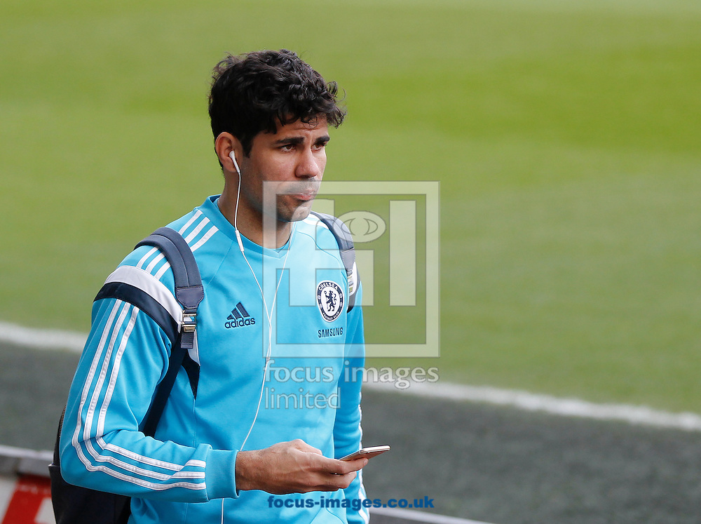 Diego Costa of Chelsea arrives for the Barclays Premier League match at the Liberty Stadium, Swansea<br /> Picture by Mike Griffiths/Focus Images Ltd +44 7766 223933<br /> 17/01/2015