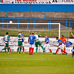Cowdenbeath FC v Buckie Thistle FC, Betfred Cup, Saturday 15 July 2017. Jillian McFarlane | sportPix.org.uk<br /> <br /> <br /> Cowdenbeath FC v Buckie Thistle FC, Betfred Cup, Saturday 15 July 2017. Jillian McFarlane | sportPix.org.uk<br /> <br /> BUCKIE THISTLE FC #18 CRAIG DORRAT SCORES THE OPENER FROM A FREE KICK RIGHT INSIDE THE 6YRD BOX