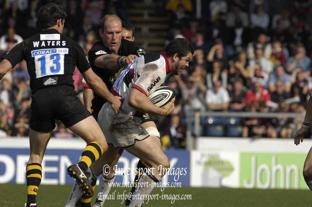 Wycombe, GREAT BRITAIN, Andy FARRELL, collects the loose ball, during the Guinness Premiership  Rugby match between London Wasps and Saracens at Adams Park, England [Credit: Peter Spurrier/Intersport Images]