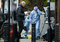 © Licensed to London News Pictures. 16/03/2019. London, UK. Police forensics at the scene where a 29 year old man has been stabbed to death on Gowan Avenue in Fulham, West London. Photo credit: Ben Cawthra/LNP