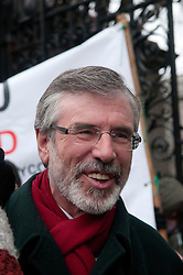 © under license to London News Pictures.  07/12/2010. Gerry Adams, MP and President of Sinn Fein, Ireland's oldest political movement, after leaving Leinster House to a crowd of protesters in Dublin, Ireland on 7/12/2010. Photo credit should read Michael Graae/London News Pictures
