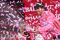 podium, Michael MATTHEWS (Aus) Orica GreenEdge, Pink Leader Jersey, winner, during the Giro d'Italia 2015, Stage 3, Rapallo - Sestri Levante (136Km) on May 11, 2015. Photo Tim de Waele / DPPI