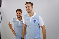 LIVERPOOL, ENGLAND - Wednesday, May 17, 2017: Liverpool and England's Jordan Henderson and Adam Lallana during a photoshoot for Vauxhall at the Devonshire House Hotel. (Pic by David Rawcliffe/Propaganda)