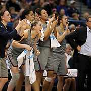 HARTFORD, CONNECTICUT- JANUARY 10: The UConn bench celebrate a fourth quarter basket from left, Tierney Lawlor #20, Katie Lou Samuelson #33, Gabby Williams #15, Napheesa Collier #24 and Kia Nurse #11 of the Connecticut Huskies and head coach Geno Auriemma of the Connecticut Huskies in their record ninetieth win during the the UConn Huskies Vs USF Bulls, NCAA Women's Basketball game on January 10th, 2017 at the XL Center, Hartford, Connecticut. (Photo by Tim Clayton/Corbis via Getty Images)