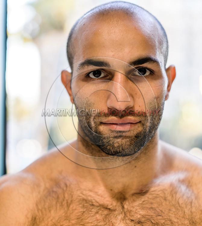 LONG BEACH, CALIFORNIA, OCTOBER 31, 2013: Akop Stepanyan poses for a portrait inside the Westin hotel in Long Beach, California ahead of their fight at Bellator CVI (© Martin McNeil)