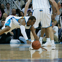 29 March 2009: New Orleans Hornets guard Chris Paul (3) slips on a play during a 90-86 victory by the New Orleans Hornets over Southwestern Division rivals the San Antonio Spurs at the New Orleans Arena in New Orleans, Louisiana.