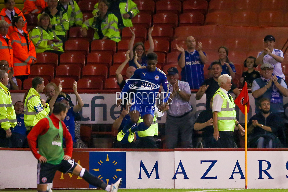 Leicester City midfielder Demarai Gray (7) scores a goal and celebrates to make the score 0-1 during the EFL Cup match between Sheffield Utd and Leicester City at Bramall Lane, Sheffield, England on 22 August 2017. Photo by Simon Davies.