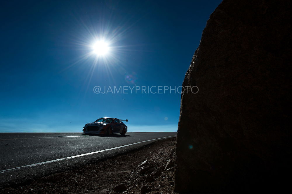 June 26-30 - Pikes Peak Colorado. Paul Dallenbach runs his car during practice for the 91st running of the Pikes Peak Hill Climb.