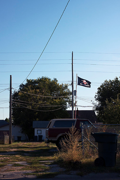 A Blackshirts flag flies high over North Platte, Nebraska.