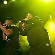 "BETHLEHEM, PA - AUGUST 06:  (L-R) Daryl McDaniels and Joseph ""Rev Run"" Simmons of RUN-DMC perform at Sands Steel Stage at PNC Plaza on August 5, 2016 in Bethlehem, Pennsylvania.  (Photo by Lisa Lake/Getty Images)"