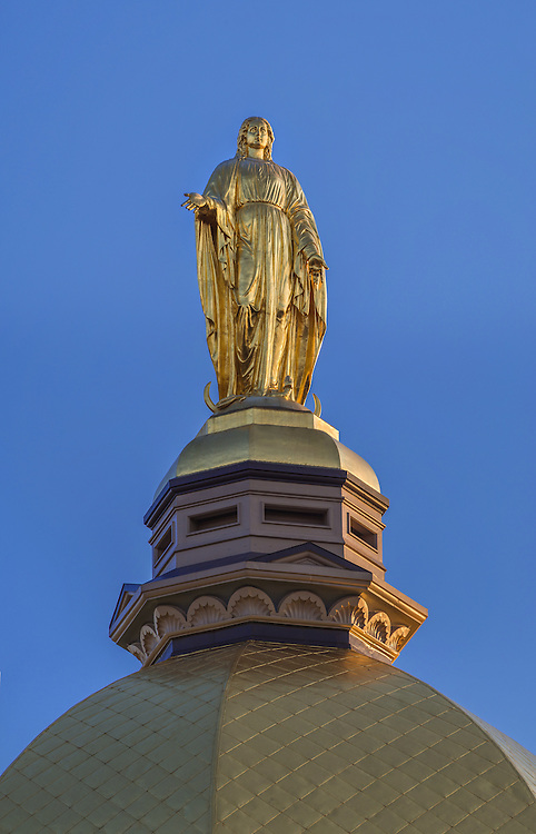 Apr. 22, 2014; Mary Statue atop the Golden Dome on the Main Building.<br /> <br /> Photo by Matt Cashore
