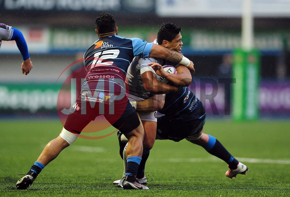 Ben Tapuai of Bath Rugby takes on the Cardiff Blues defence - Mandatory byline: Patrick Khachfe/JMP - 07966 386802 - 10/12/2016 - RUGBY UNION - Cardiff Arms Park - Cardiff, Wales - Cardiff Blues v Bath Rugby - European Rugby Challenge Cup.