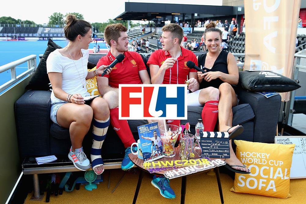 LONDON, ENGLAND - JUNE 18:  Henry Weir of England and Sam Ward of England speak to members of the England Hockey media staff on the social sofa after the Hero Hockey World League Semi Final match between England and Argentina at Lee Valley Hockey and Tennis Centre on June 18, 2017 in London, England.  (Photo by Alex Morton/Getty Images)