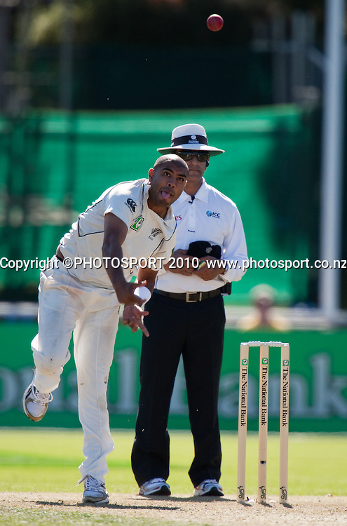 Jeetan Patel bowls during day one of the 2nd cricket test match between NZ Black Caps and Australia, at Seddon Park, Hamilton, 27 March 2010. Photo: Stephen Barker/PHOTOSPORT